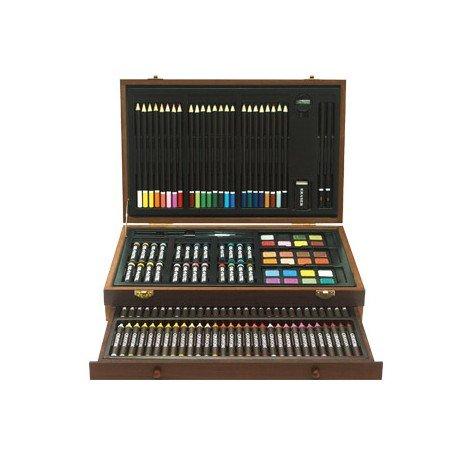 Estuche pintura marca Lidercolor madera cofre deluxe 141 piezas