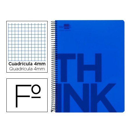 Bloc Folio Liderpapel serie Think cuadricula de 4 mm azul