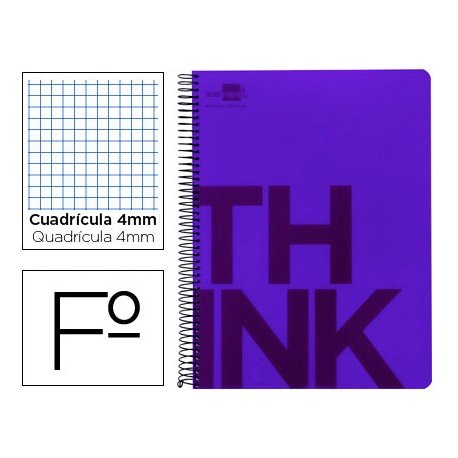 Bloc Folio Liderpapel serie Think cuadricula de 4 mm violeta