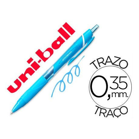 Boligrafo marca Uni-Ball roller SXN157C Jetstream color azul claro 0.35 mm