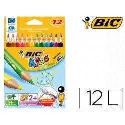 Lapices de colores bic triangulares estuche 12 colores finos