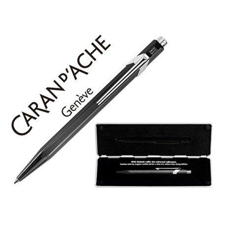 Boligrafo marca Caran d'ache 849 Pop line metalizado negro estuche