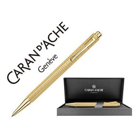 Boligrafo marca Caran d'ache Ecridor Lignes urbaines placado dorado estuche
