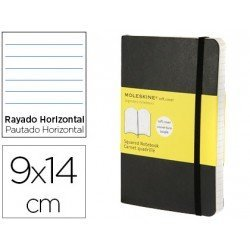 Libreta Moleskine tapa dura rayado color negro 9x14 cm