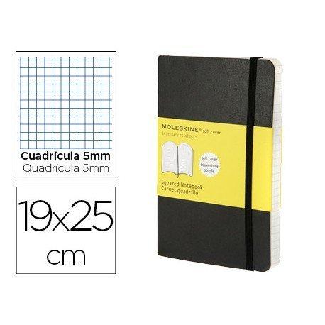 Libreta Moleskine tapa blanda cuadricula color negro 19x25 cm