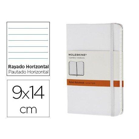 Libreta Moleskine tapa dura rayado color blanco 9x14 cm