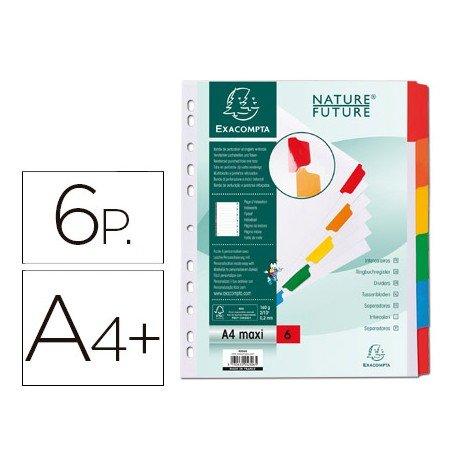 Separadores cartulina Exacompta Din A4+ juego de 6 color blanco