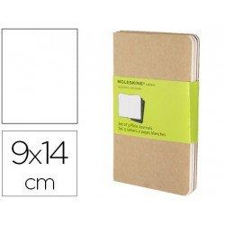 Libreta Moleskine tapa blanda liso color kraft pack (3) 9x14 cm