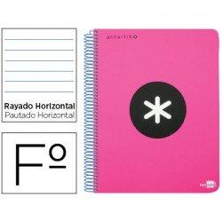 Bloc Antartik Folio Rayado Horizontal tapa Plástico 100g/m2 Rosa Flúor con margen