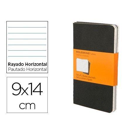 Libreta Moleskine tapa blanda rayado color negro pack (3) 9x14 cm