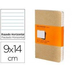 Libreta Moleskine tapa blanda rayado color kraft pack (3) 9x14 cm