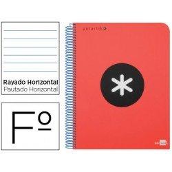 Bloc Antartik Folio Rayado Horizontal tapa Plástico 100g/m2 Rojo con margen