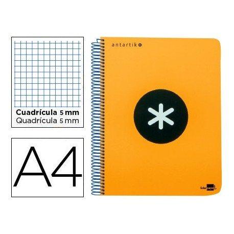 Bloc Antartik A4 Cuadrícula tapa Plástico 100g/m2 Naranja 5 bandas color