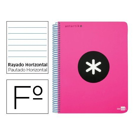 Bloc Antartik Folio Rayado Horizontal tapa Dura 100g/m2 Rosa Flúor con margen