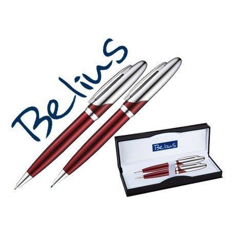 Boligrafo y portaminas Belius Varsovia color rojo lacado