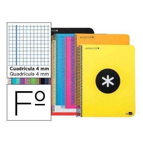 Bloc Antartik Folio Cuadrícula tapa Plástico 100g/m2 Colores surtidos con margen