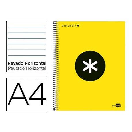 Bloc Antartik A4 Rayado Horizontal tapa Forrada 100g/m2 Amarillo Flúor 5 bandas de color