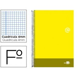 Bloc Liderpapel serie Discover folio cartoncillo cuadricula 4 mm color amarillo