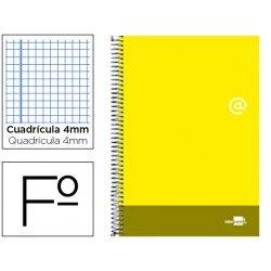 Bloc Liderpapel serie Discover folio cartoncillo cuadricula 4 mm color amarillo