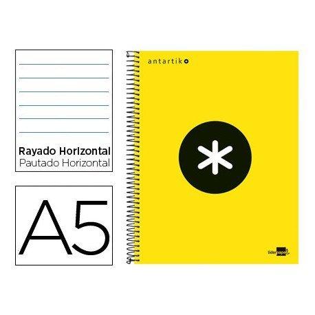 Bloc Antartik A5 Rayado Horizontal tapa Forrada 100g/m2 Amarillo Flúor 5 bandas color