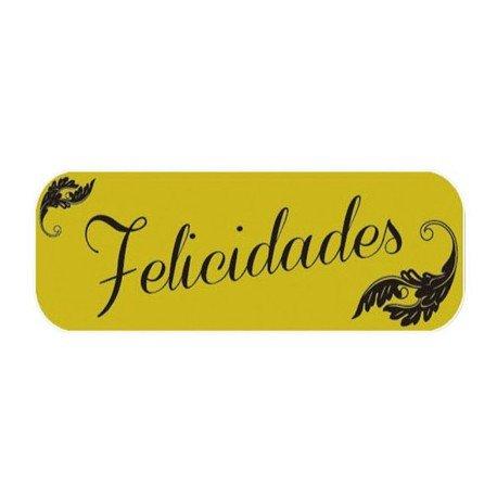Etiqueta marca Arguval Felicidades modelo oro rollo de 250 unidades