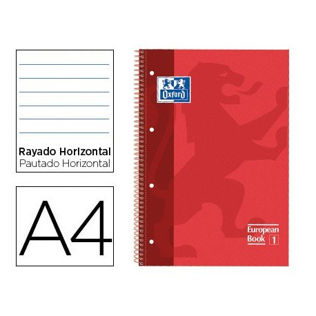 Bloc Oxford Din A4 tapa extradura microperforado Book1 rayado horizontal color Rojo