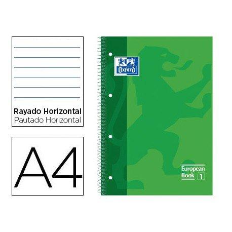 Bloc Oxford Din A4 tapa extradura microperforado Book1 rayado horizontal color Verde