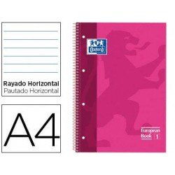 Bloc Oxford Din A4 tapa extradura microperforado Book1 rayado horizontal color Rosa