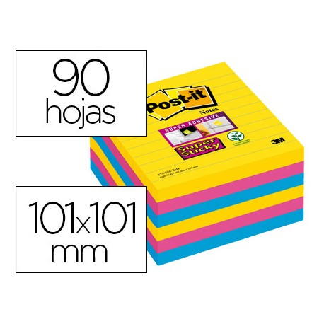 Bloc de notas marca Post-it ® super sticky rayado colores 90 hojas 101 x 101 mm