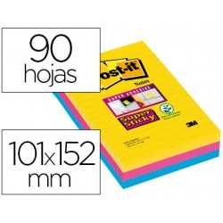 Bloc de notas rayado adhesivas marca Post-it super sticky 101 X 152 mm 90 hojas 3 colores