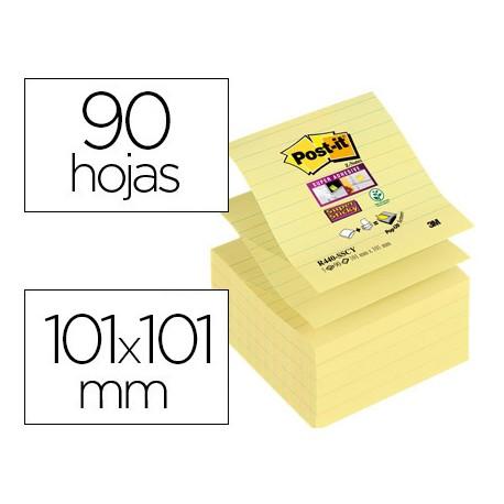 Post-it ® Bloc de notas adhesivas super sticky color amarillo rayado 101 x 101 mm 90 hojas pack 5 blocs Z-notes