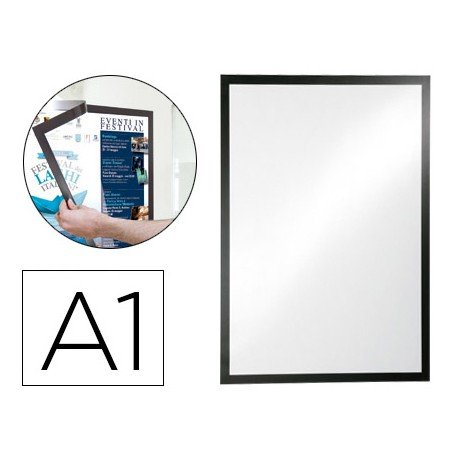 Porta anuncios DURABLE magnetico adhesivo DIN A1 negro