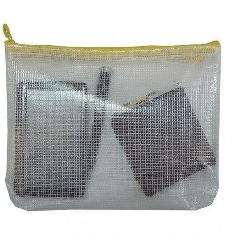 Bolsa multiusos transparente impermeable cierre cremallera amarilla
