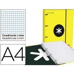 Carpeta con recambio Antartik A4 4 anillas 25 mm de Carton forrado color amarillo