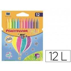 Lapices de cera Plastidecor caja 12 colores surtidos pastel y metalico