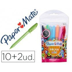 Boligrafo marca Papermate Inkjoy 100 mini 1 mm colores surtidos Pack 10+2