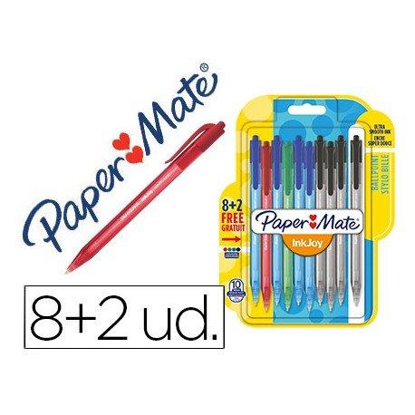 Boligrafo Paper Mate Inkjoy 100 retráctil 0,4 mm pack 8+2 unidades colores surtidos