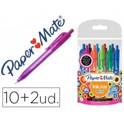 Boligrafo marca Papermate Inkjoy 100 mini retractil 1 mm Colores surtidos Pack 10+2