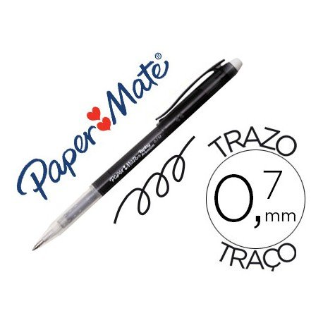 Boligrafo Borrable Paper Mate Replay premium con goma de borrar color negro