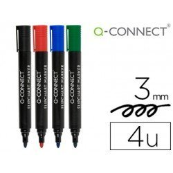 Rotulador Q-Connect para bloc congreso pack 4 colores surtidos