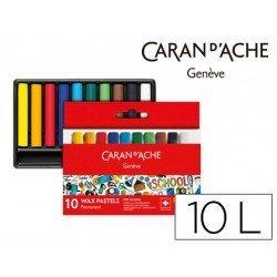 Lapices cera Caran D´Ache caja de carton 10 colores