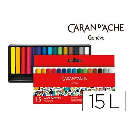 Lapices cera Caran D´Ache caja de carton 15 colores