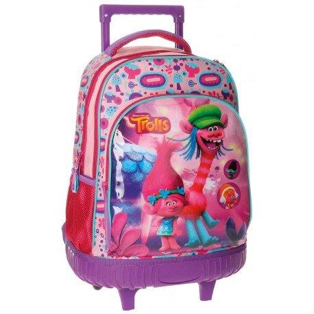 Mochila Escolar Trolls Con Ruedas y Carro 32x43x21cm Rosa