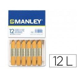 Lapices cera blanda Manley caja 12 unidades ocre