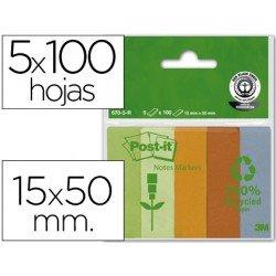 Bloc nota adhesivas recicladas Post-it 15 x 50 mm ®