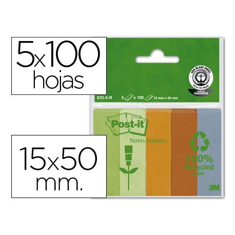 Bloc nota adhesivas recicladas Post-it 15 x 50 mm ®