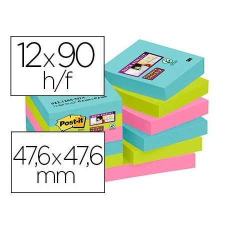 Bloc Quita y Pon Post-It ® Super Sticky 47,6X47,6 mm Colores Miami