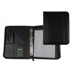 Portadocumentos tipo Carpeta Csp Negro con calculadora y bolsillo para movil