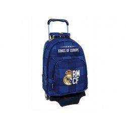 Mochila Escolar Doble Real Madrid con ruedas y carro 905 32x16x42 cm Blue