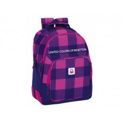 Mochila Escolar Doble Benetton Adaptable a Carro 32x15x42 cm Square